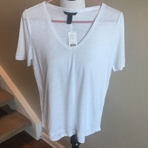 NWT Banana Republic White Linen Tee